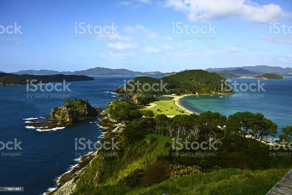 Bay of Islands in New Zealand stock photo