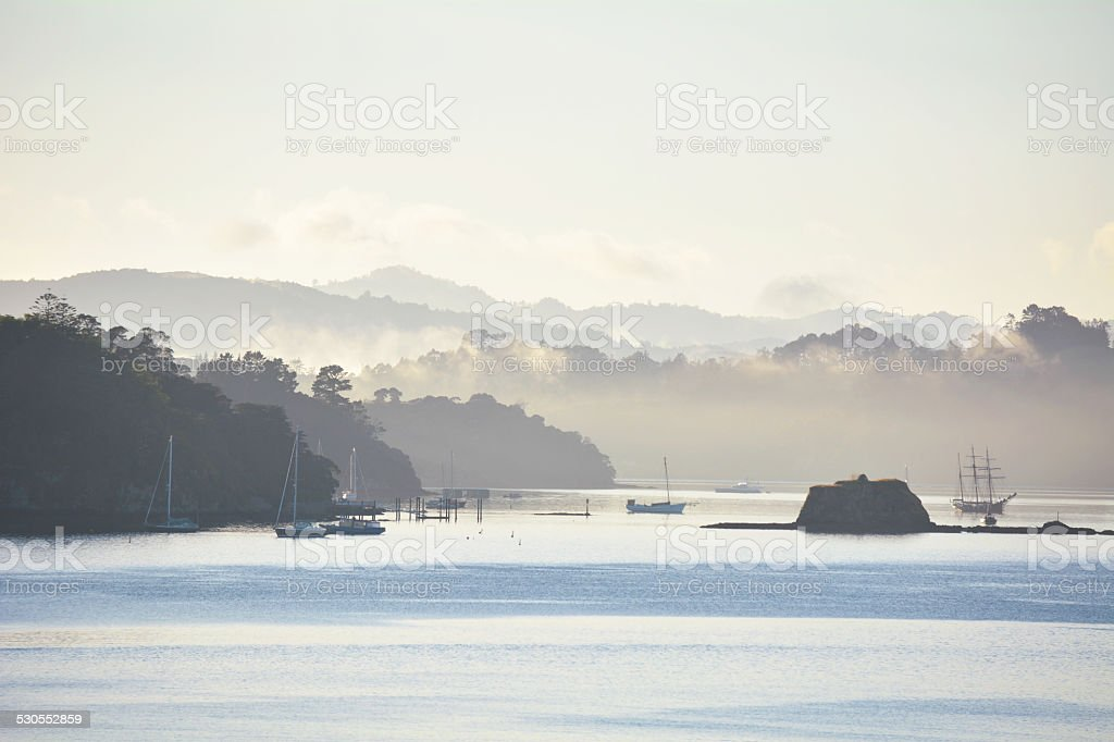 Bay Of Islands New Zealand Morning Harbour Fog stock photo
