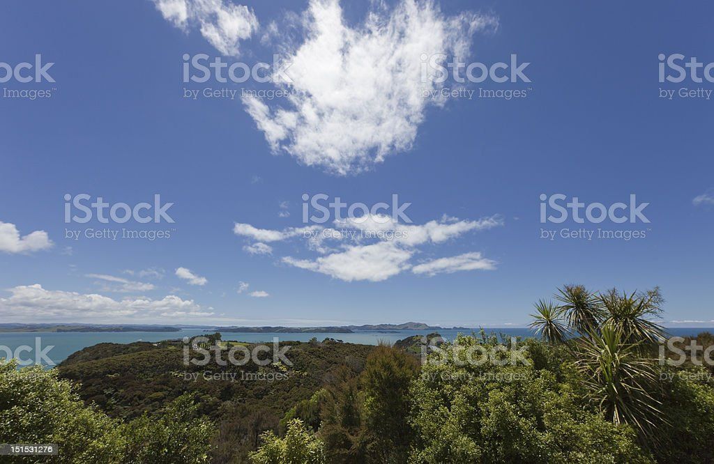 Bay of Islands with blue Sky and white Clouds stock photo