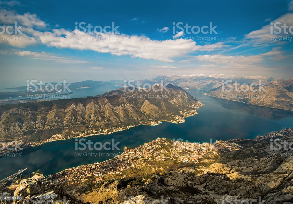 Bay of Kotor, Aerial Landscape stock photo