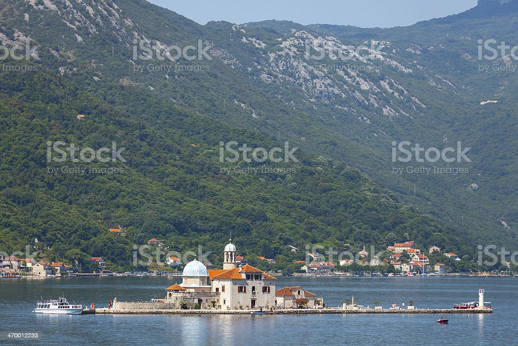 Bay of Kotor. Church on island stock photo
