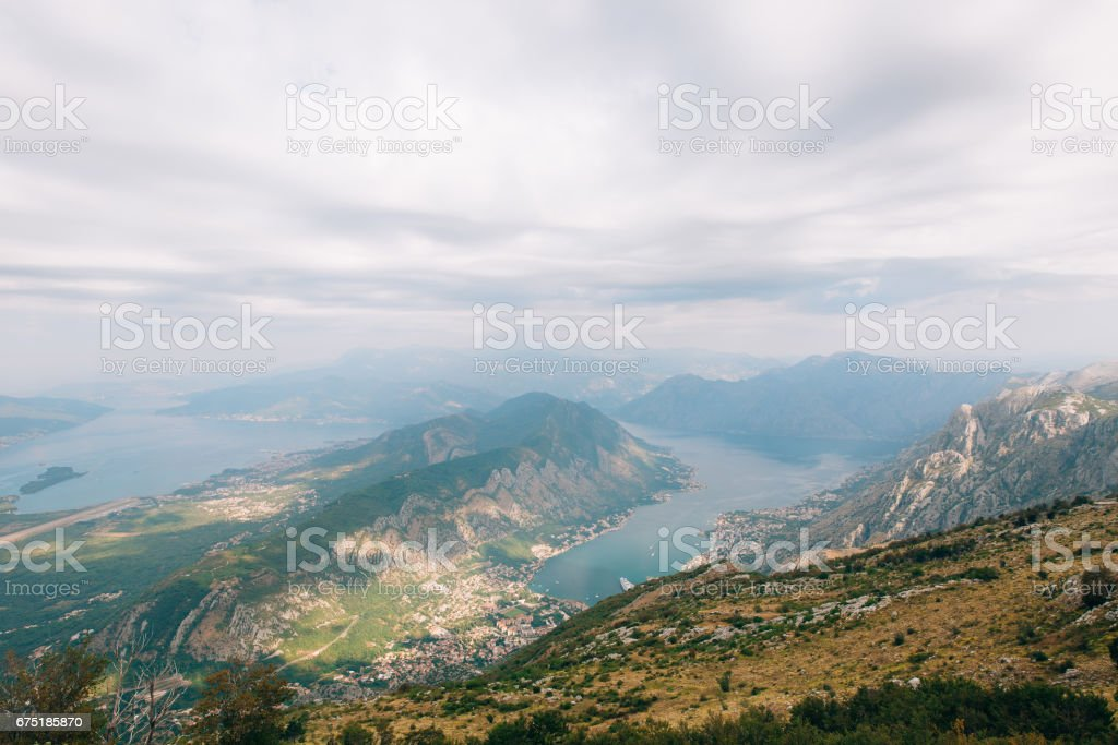 Bay of Kotor from the heights. View from Mount Lovcen to the bay stock photo