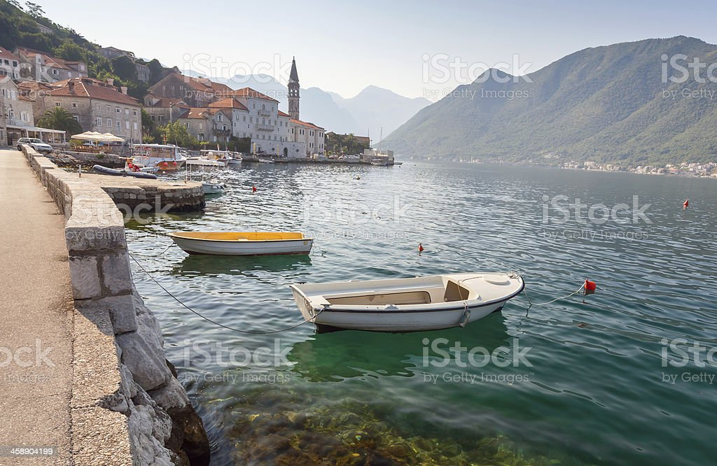 Bay of Kotor landscape with small boats. Perast, Montenegro stock photo
