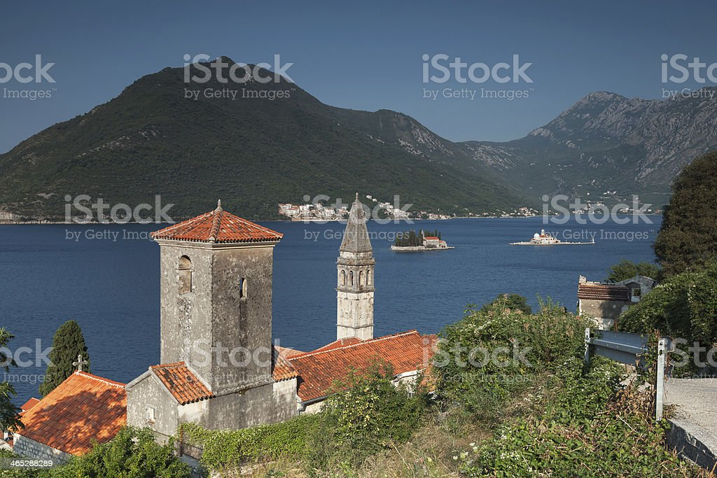 Bay of Kotor, Montenegro. Ancient Churches in Perast town stock photo