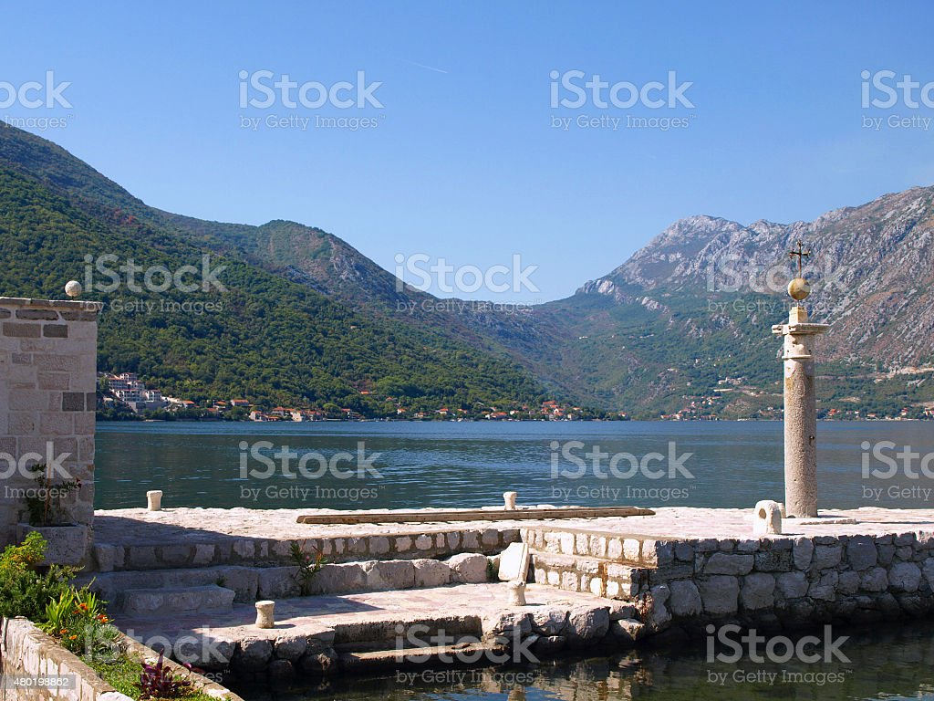 Bay of Kotor, Montenegro, Our Lady of the Rocks stock photo