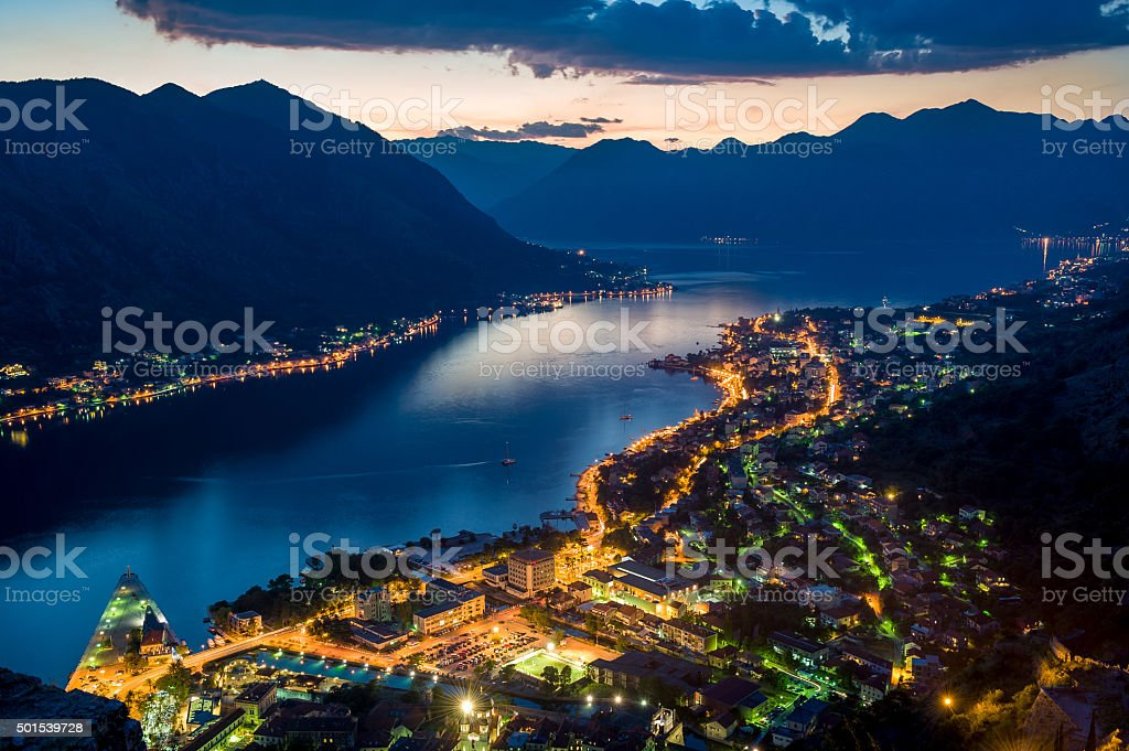 Bay of Kotor night view from old monastery in the stock photo