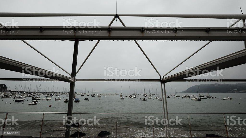 Bay of Lerici, Italy: plenty of boats moored stock photo