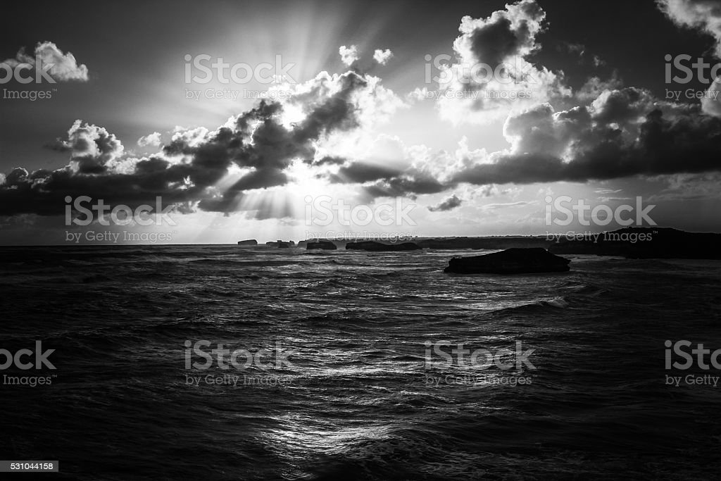 Bay of Martyrs at the evening stock photo