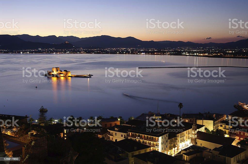bay of Nauplia by night royalty-free stock photo