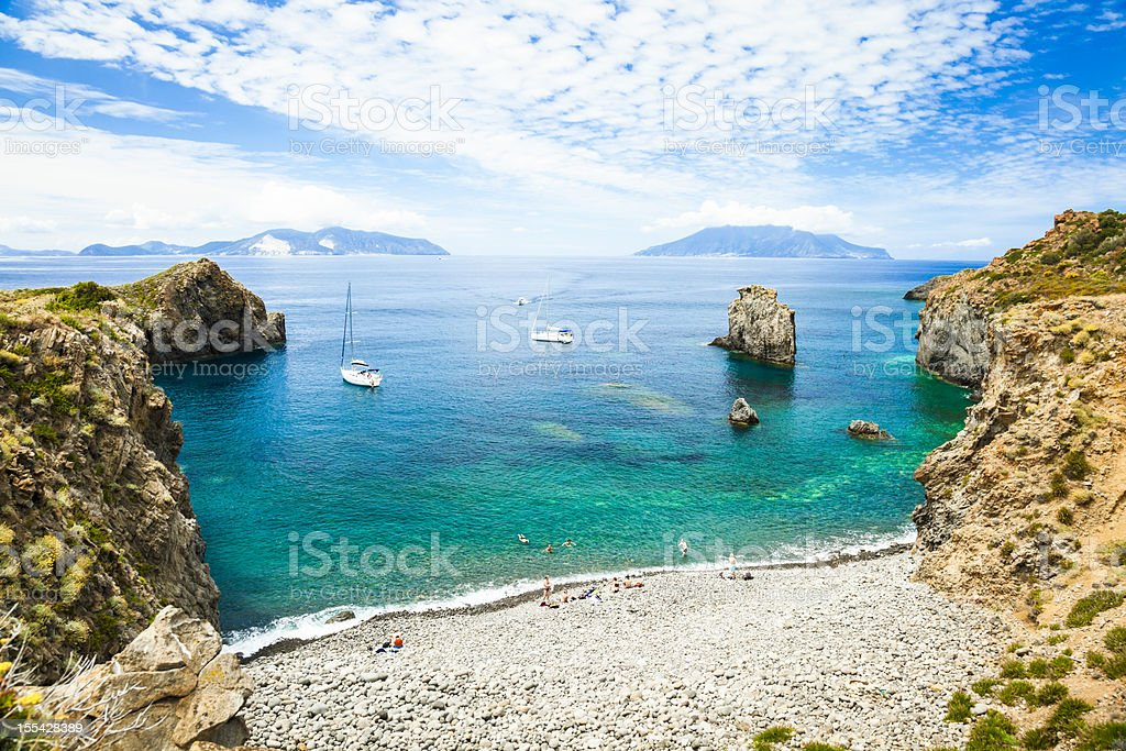 Bay of Panarea stock photo