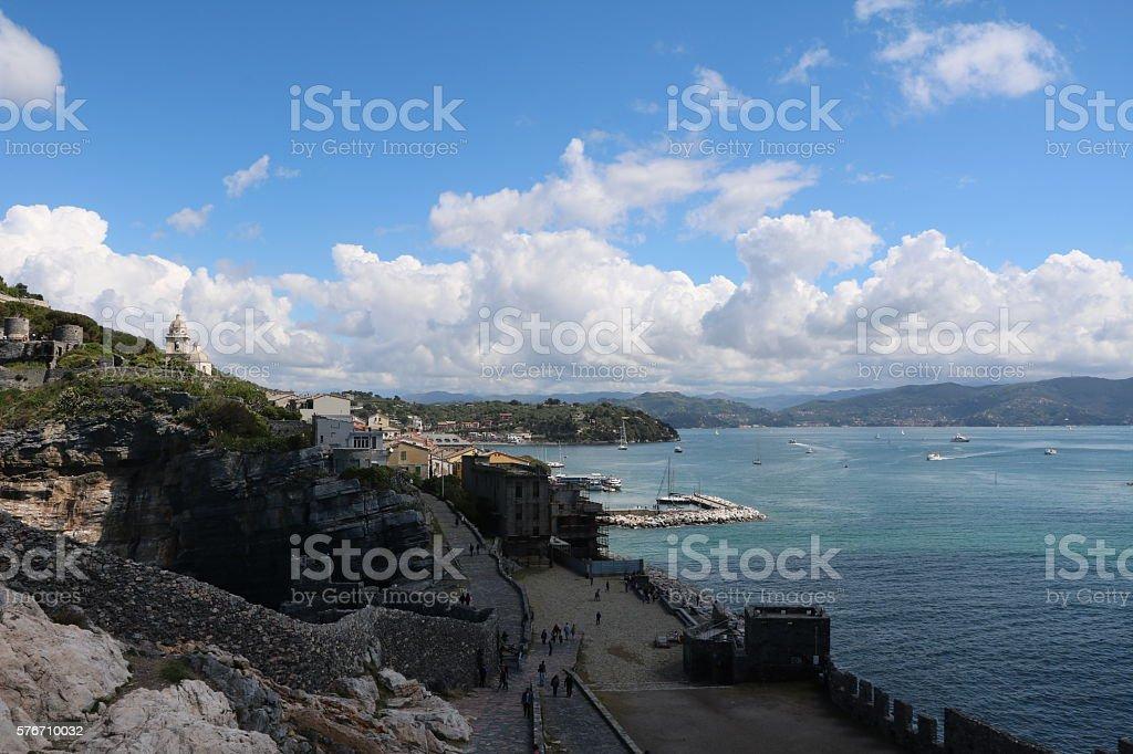 Bay of Porto Venere at Ligurian sea, Italy stock photo