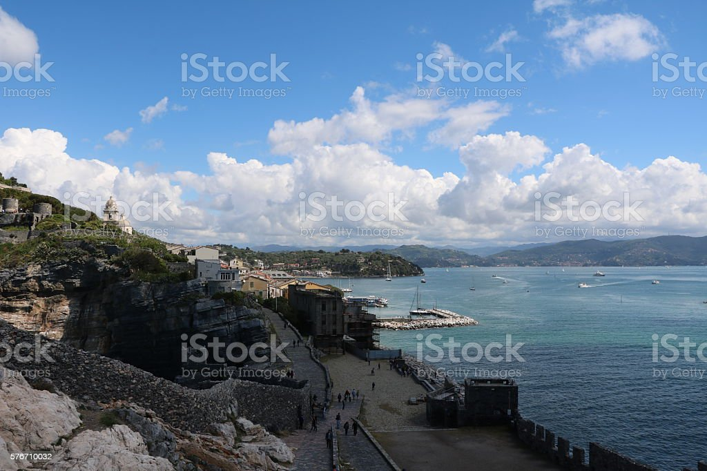 Bay of Porto Venere at Ligurian sea, Italy stock photo