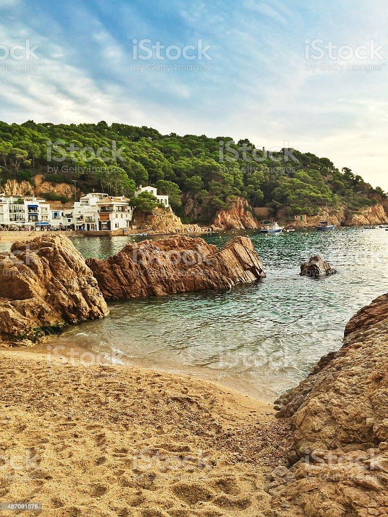 Bay of Tamariu in Spain stock photo