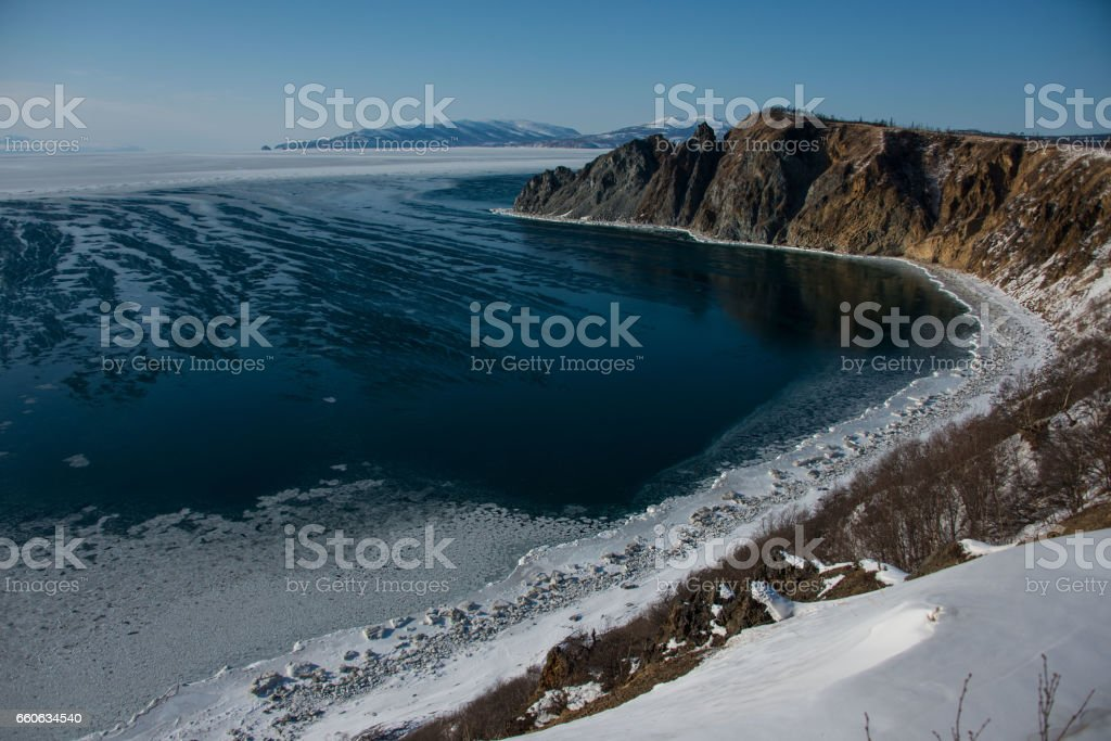 Bay of the Okhotsk sea stock photo