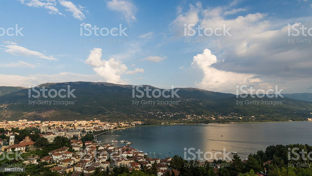 Bay of the old town Ohrid at Lake Ohrid stock photo