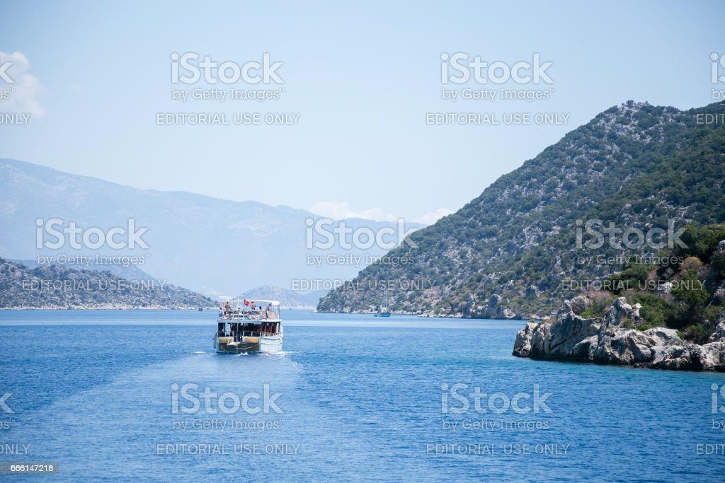 Bay of Uchagiz view from sea stock photo