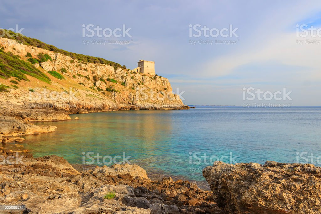 SALENTO. Bay Portoselvaggio:in the background the watchtower Dell'Alto.ITALY (Puglia) stock photo