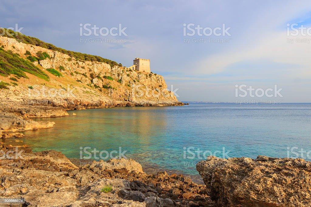 SALENTO. Bay Porto Selvaggio:in the background the watchtower Dell'Alto.ITALY (Puglia) stock photo