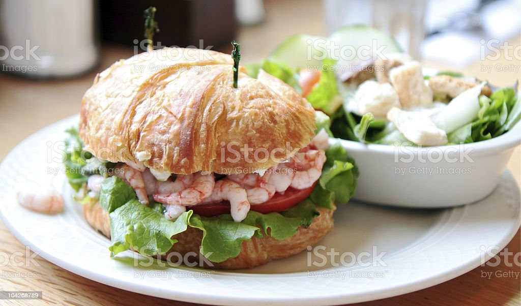 Bay Shrimp Sandwich on a Croissant royalty-free stock photo