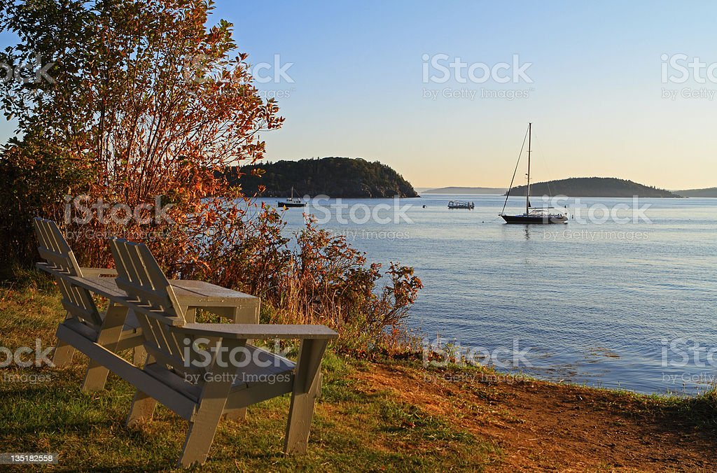 Bay Side Bench stock photo