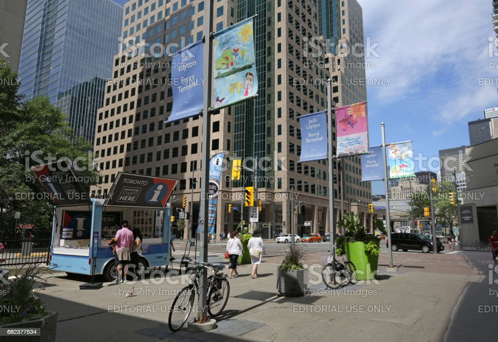 Bay Street at Queens Quay West, Toronto, Canada in Summer stock photo