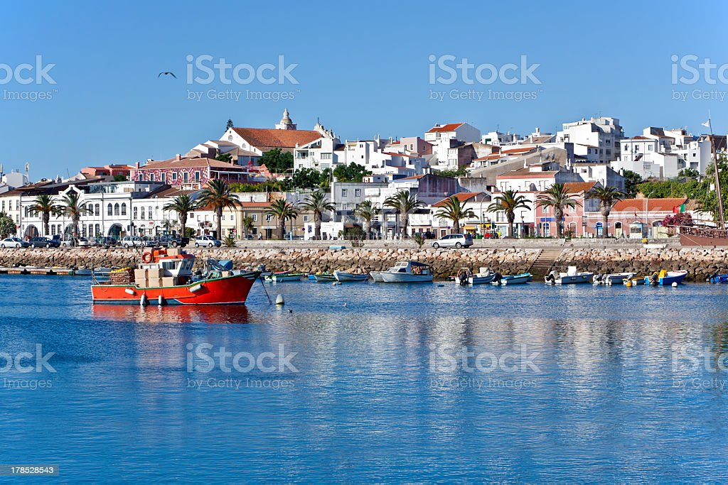 Bay view of Lagos, Portugal on a sunny day stock photo