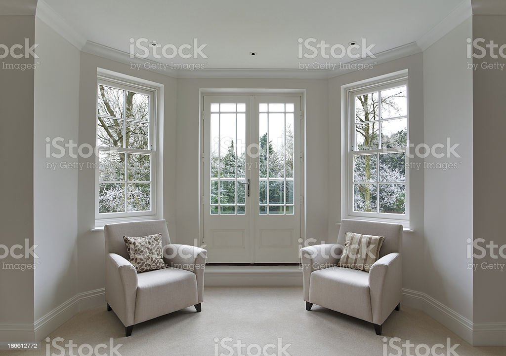 bay window and frosty view stock photo
