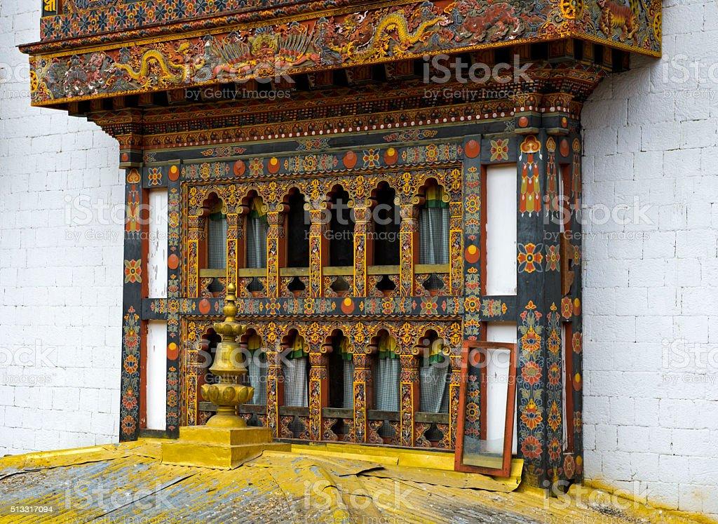 bay window, monastery and fortress Punakha Dzong, Punakah, Bhutan stock photo