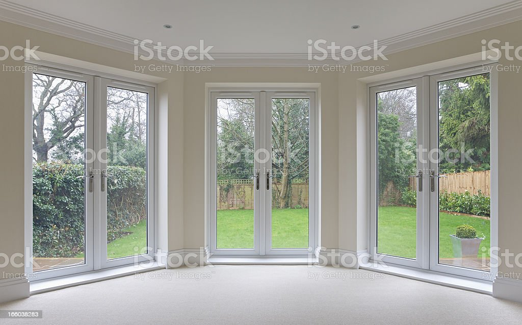 bay window patio doors stock photo