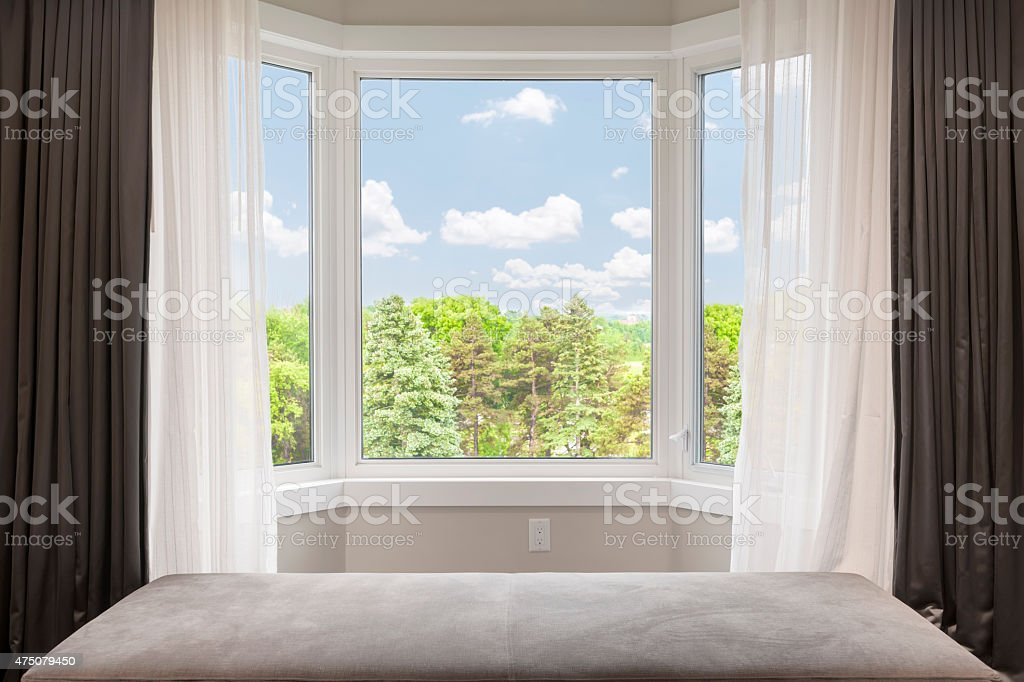 Bay window with summer view stock photo
