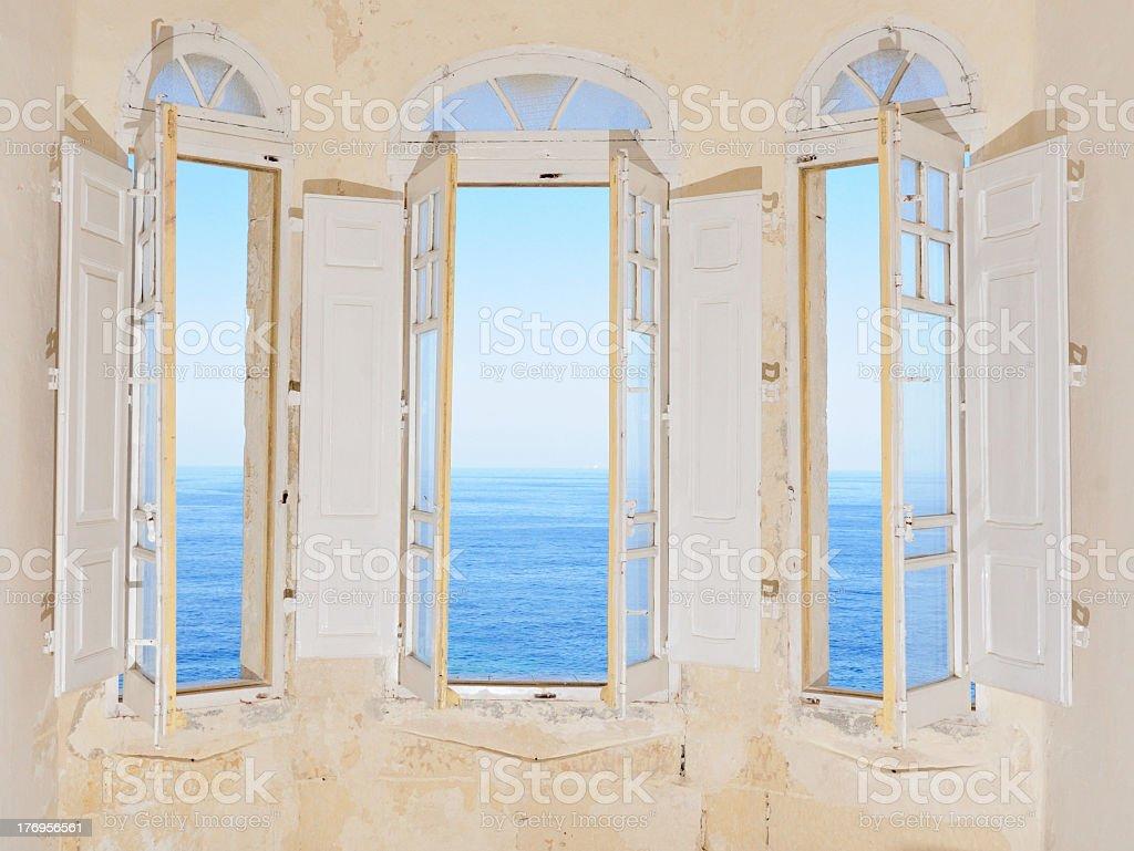 Bay window with view over Mediterranean Sea. Sliema, Malta royalty-free stock photo