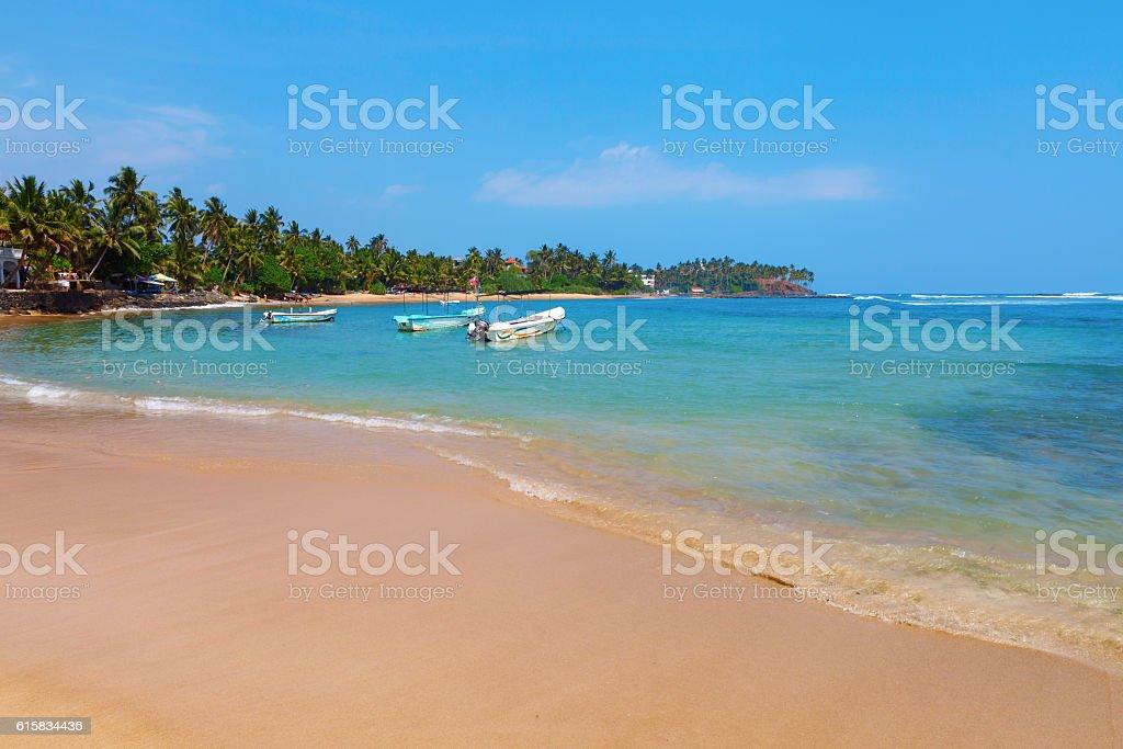 Bay with boats, Indian Ocean, Mirissa, Sri Lanka stock photo