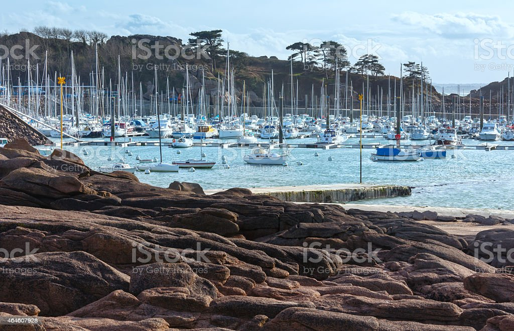 Bay with sailboats (Brittany, France). stock photo