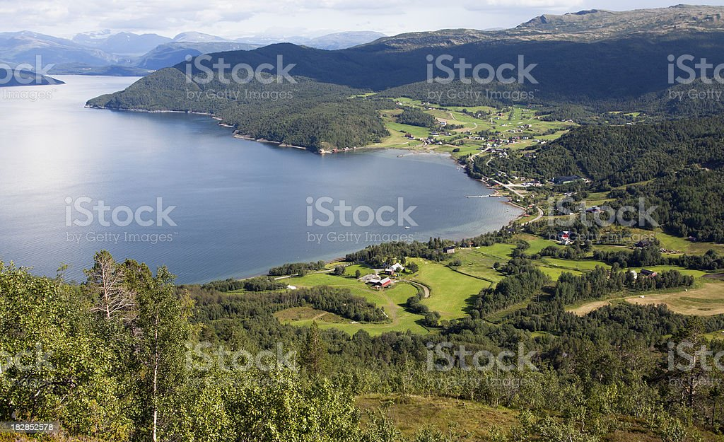 Bay with settlement in Norway stock photo