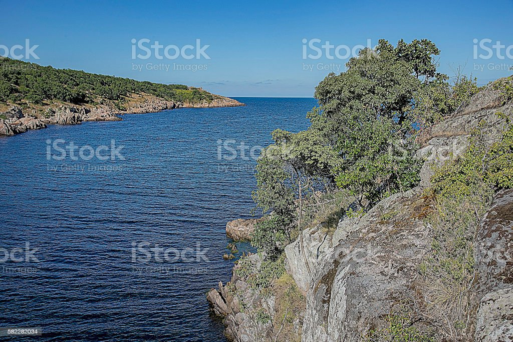 Bay with steep wooded banks stock photo