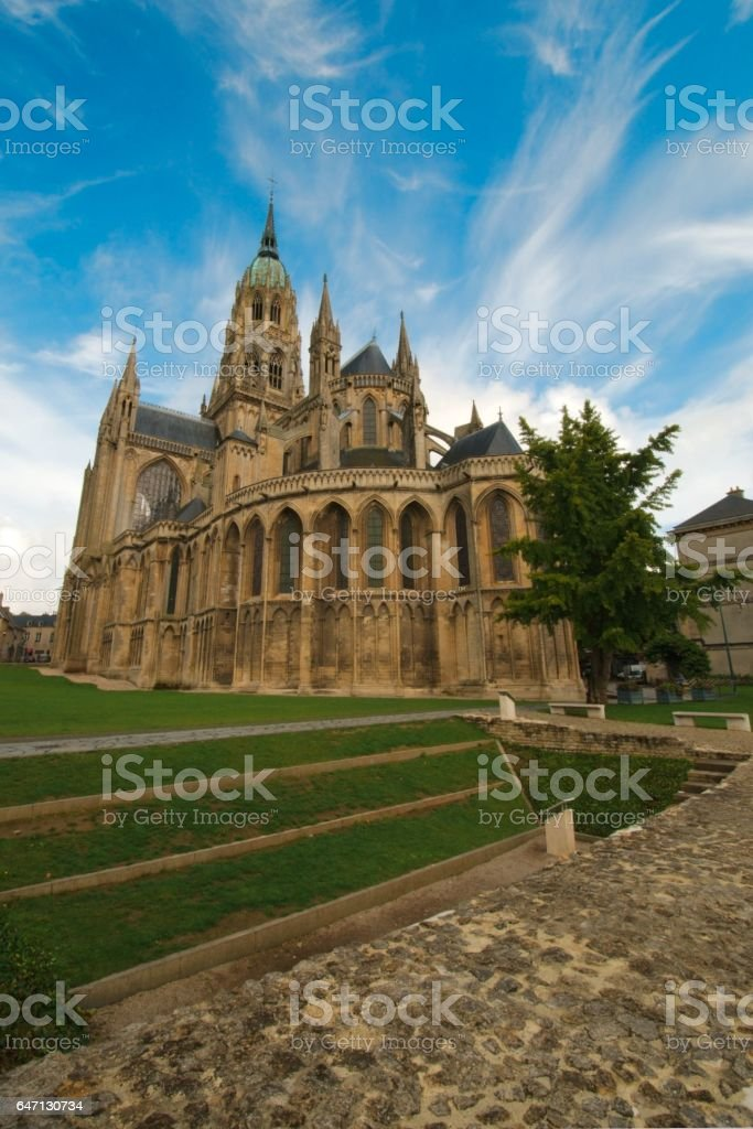 Bayeux Cathedral, a Norman-Romanesque cathedral located in Bayeux, Normandy, France. Consecrated in 1077 stock photo