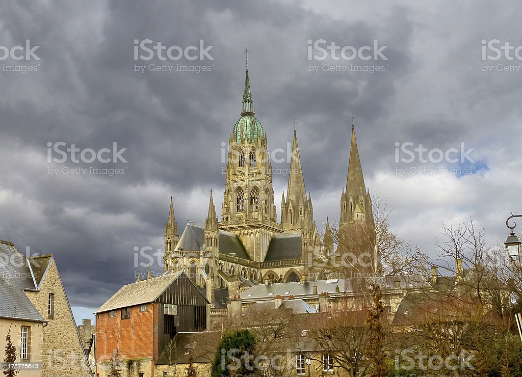 Bayeux Cathedral against a cloudy sky stock photo