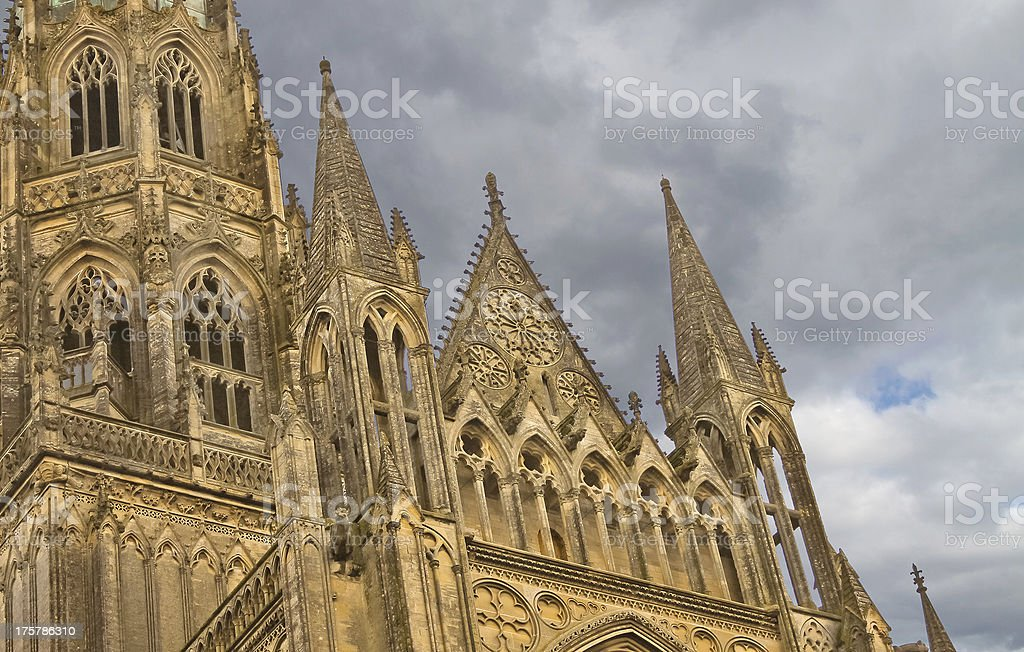 Bayeux Cathedral against a cloudy sky royalty-free stock photo