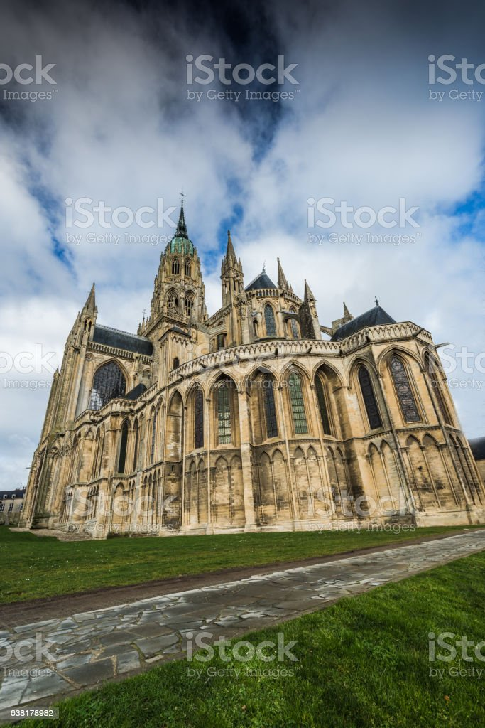 Bayeux medieval Cathedral of Notre Dame, Normandy,France stock photo