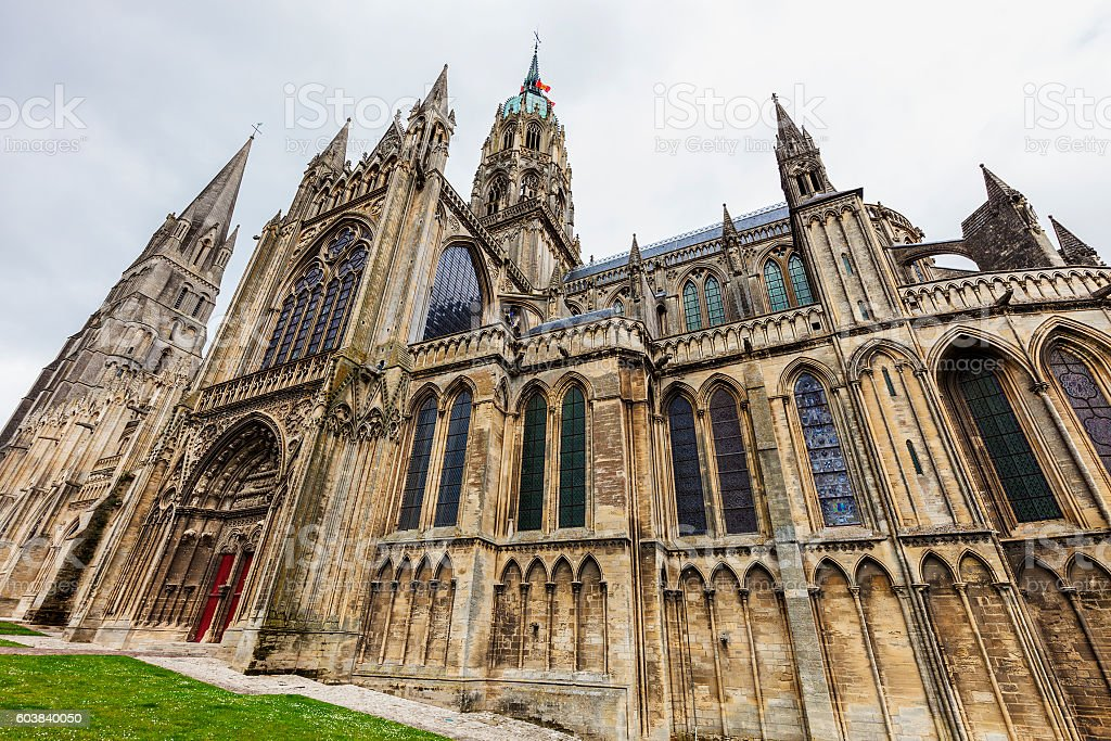 Bayeux Notre-Dame Cathedral stock photo
