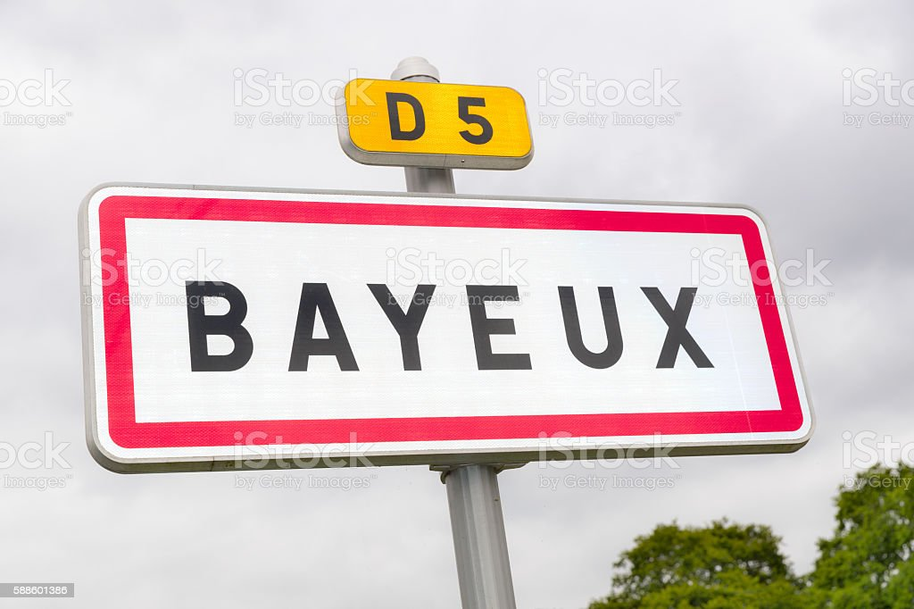 Bayeux road sign, Normandy, France stock photo