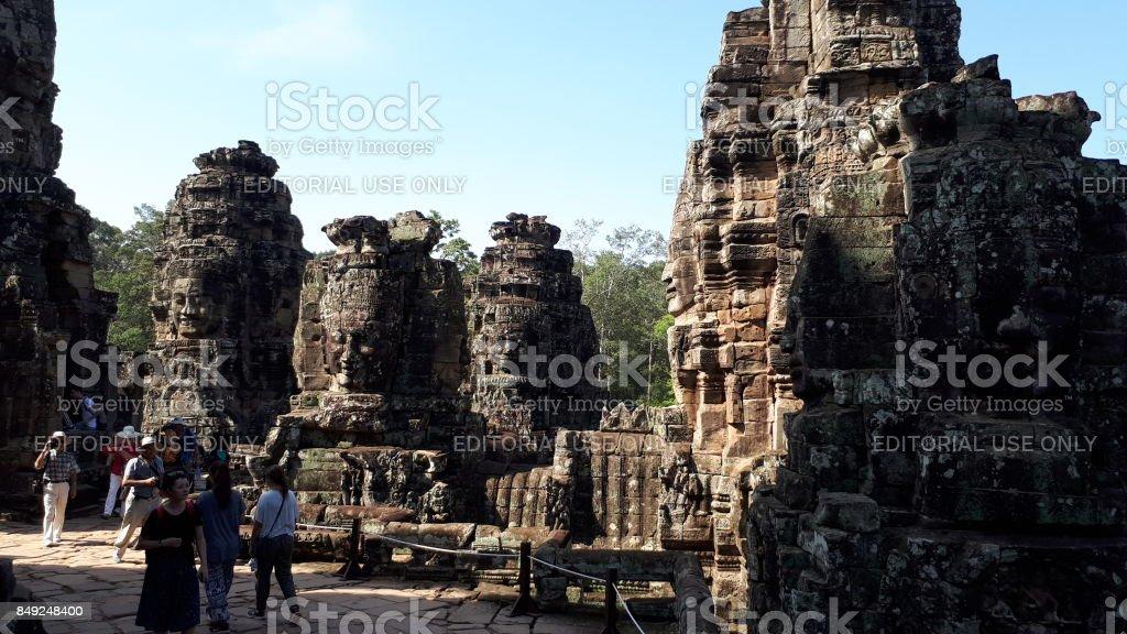 Bayon Face at Angkor Thom stock photo