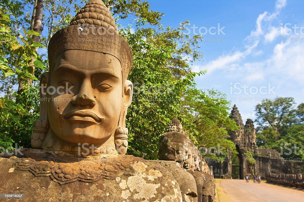 Bayon statue ,siem reap ,Cambodia stock photo