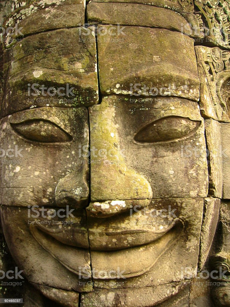 bayon temple carving angkor wat cambodia royalty-free stock photo