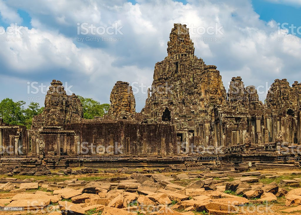 Bayon Temple in Angkor Thom Complex, Cambodia stock photo