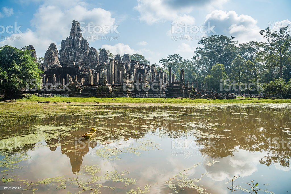 Bayon temple in Siem Reap province of Cambodia. stock photo