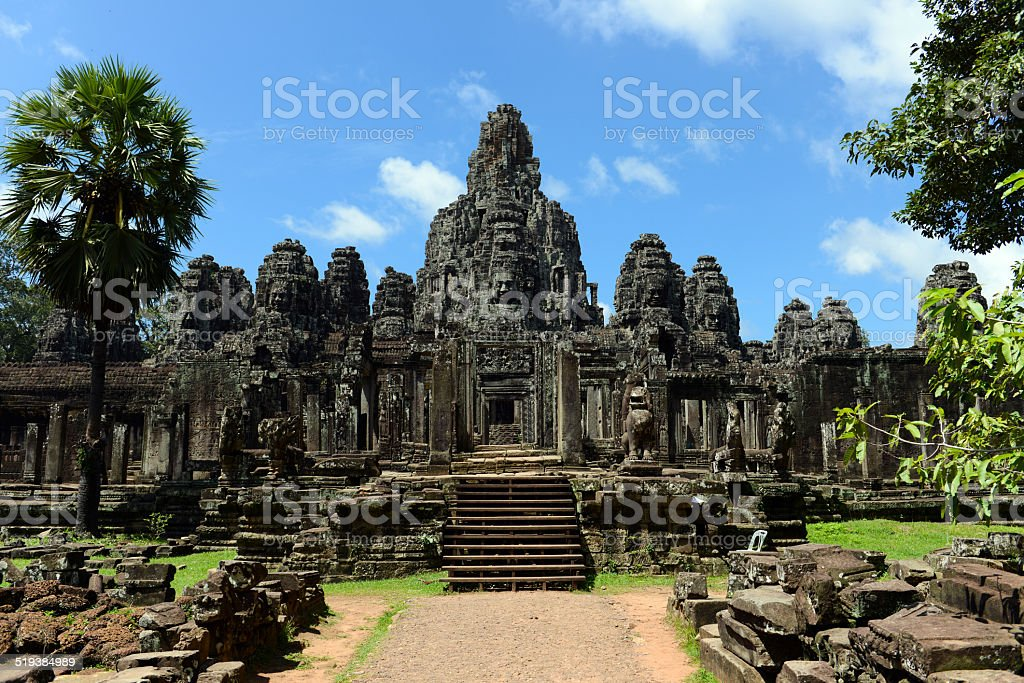 Bayon temple of Angkor stock photo