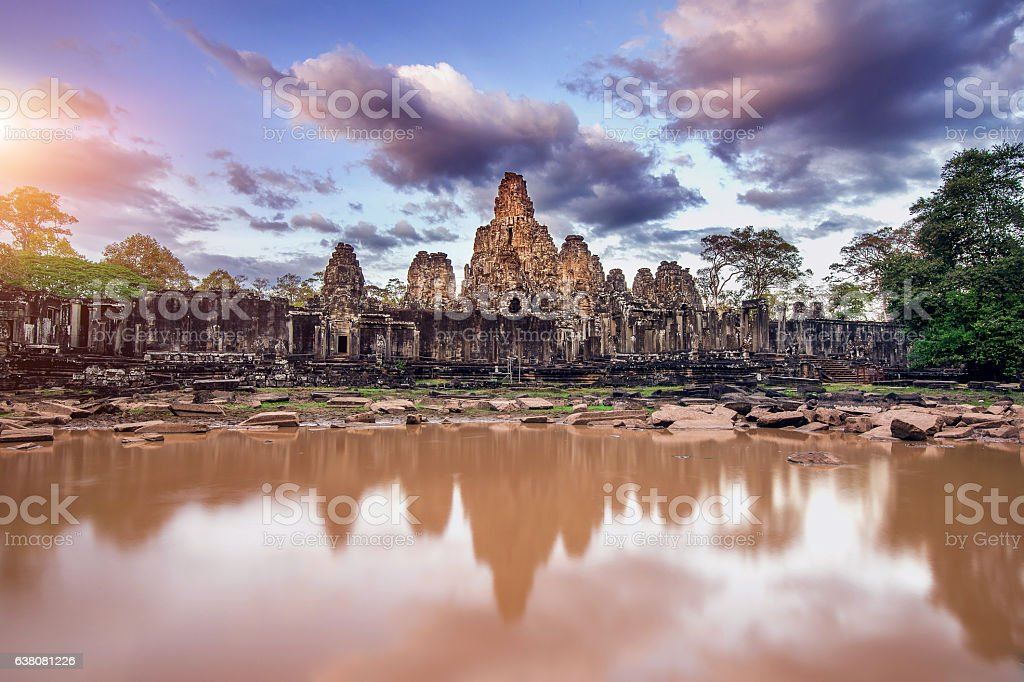 Bayon Temple with giant stone faces, Angkor Wat, Siem Reap. stock photo