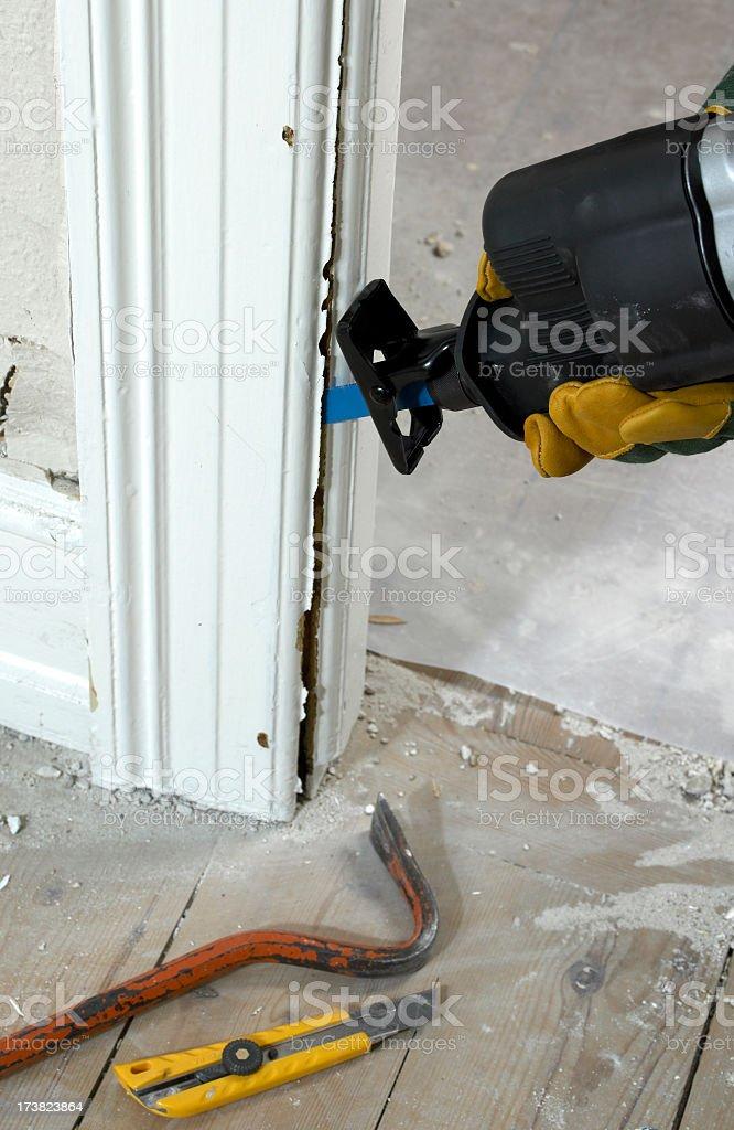 Bayonetsaw in work under renovation stock photo