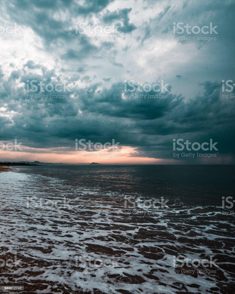 Bayonne beach sunset stock photo